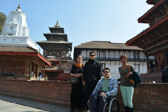 Ireen, Sebastian, Jerome and Sandyha surrounded by the amazing variety of architecture devoted to different gods and religions. (From the Left)
