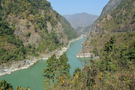 The road snakes along the Trishuli river which begins in the Himalayas an runs the full length of Nepal, India and eventually out to the sea.