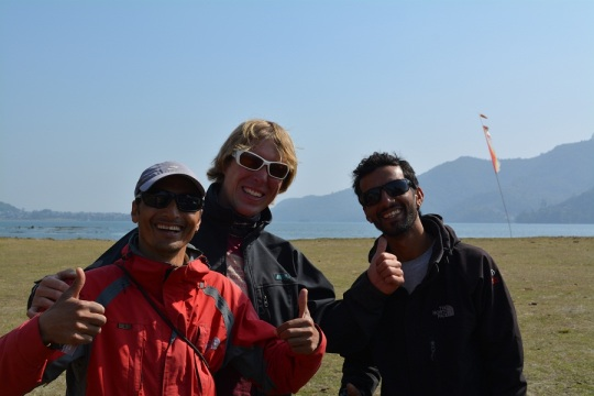 The Three pilots from Frontiers Paragliding, Ajay my Pilot, Spike and my brothers pilot. (from the left)