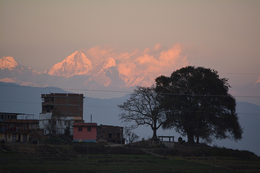 The Himalayas as seen from Kathmandu at Dusk