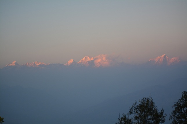 We drove an hour to Nagarkot to view the sunset on the mountains from about 2200m. Unfortunately that day the haze from Kathmandu was blown in the same direction.