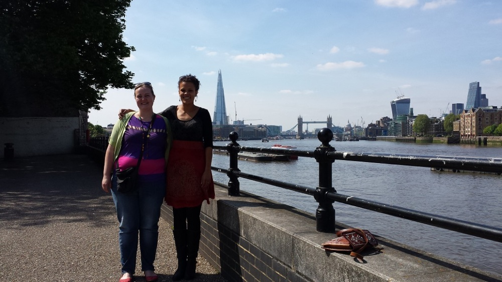 Jess and her cousin Beth on the London Southbank. The tower bridge and the Shard in the background