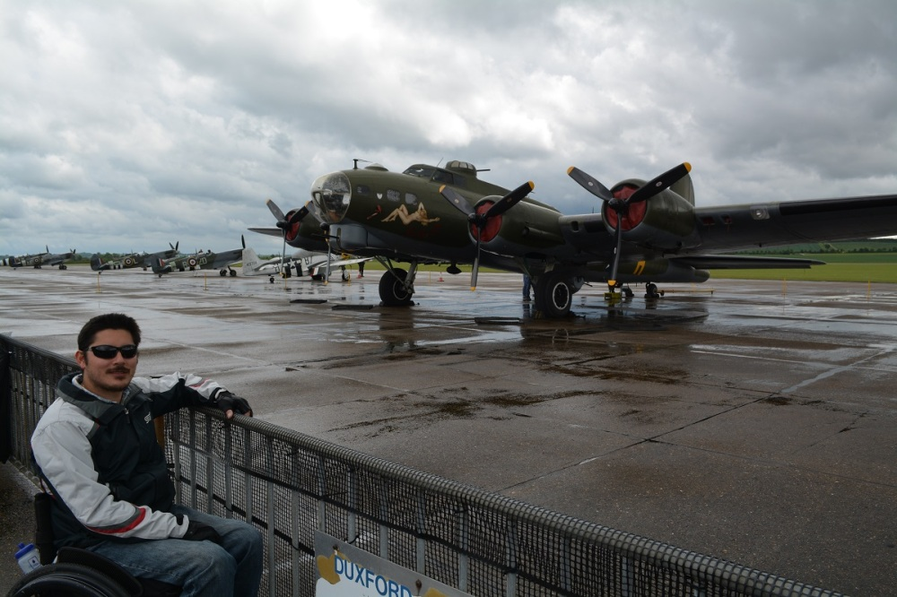 B-17 Flying Fortress flown over from the states. Lots of other fighters lined up in the background