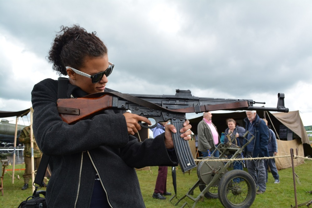 Nazi MP-44 first of the Assault Rifles, spawned the AK-47. Jess looking pretty badass too.