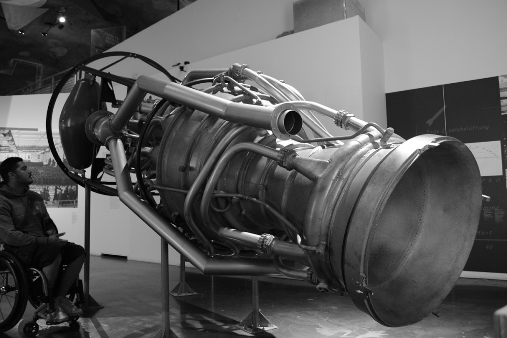 A V2 engine - the first rocket engine ever made (with liquid fuel). 250,000Nm of thrust propelled it along at 3 times the speed of sound so that it could deliver its 890kg warhead