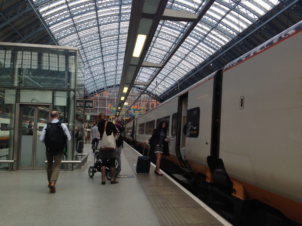 Boarding the Eurostar at St Pancras Station London