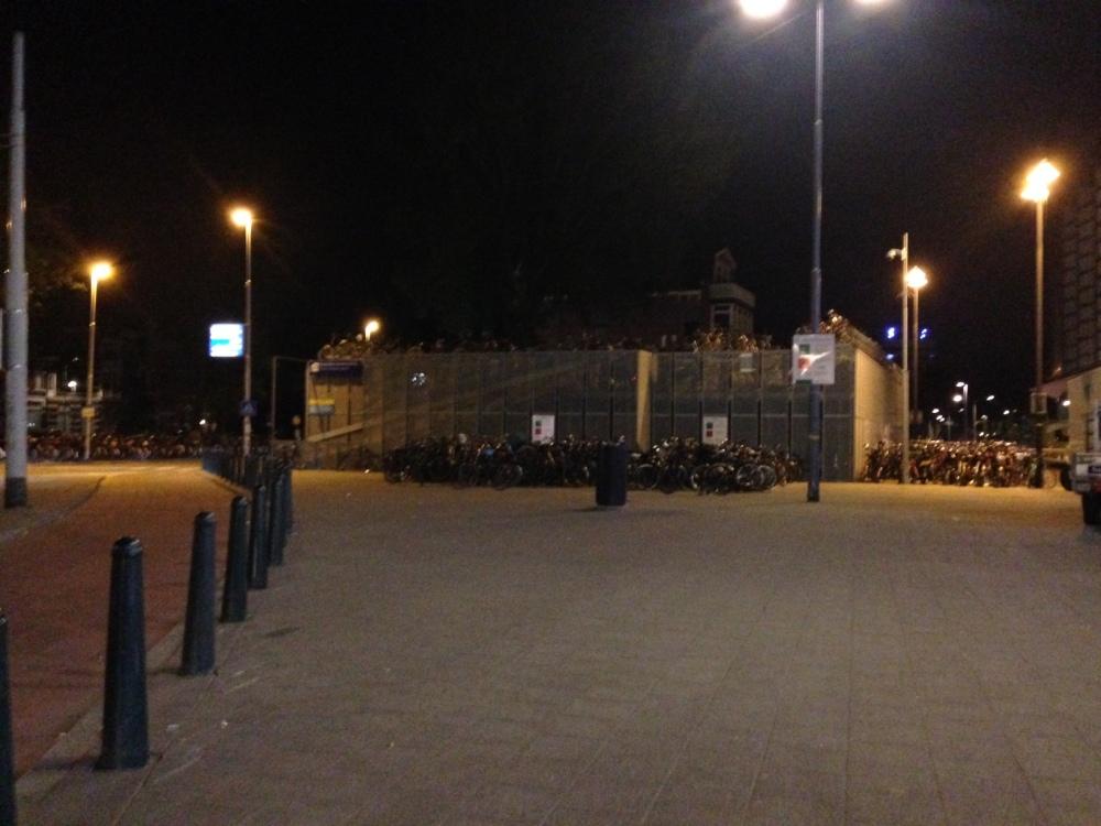 Hundreds of push bikes locked up next to the station
