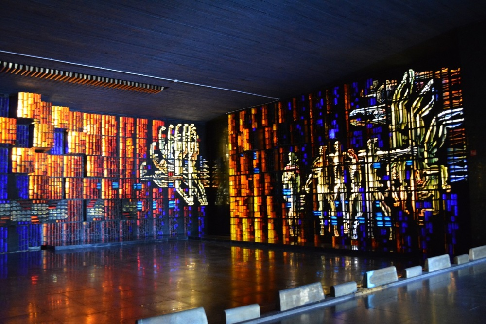 A series of stained glass pieces entitled Undefeated, and undefeated 2 inside the museum