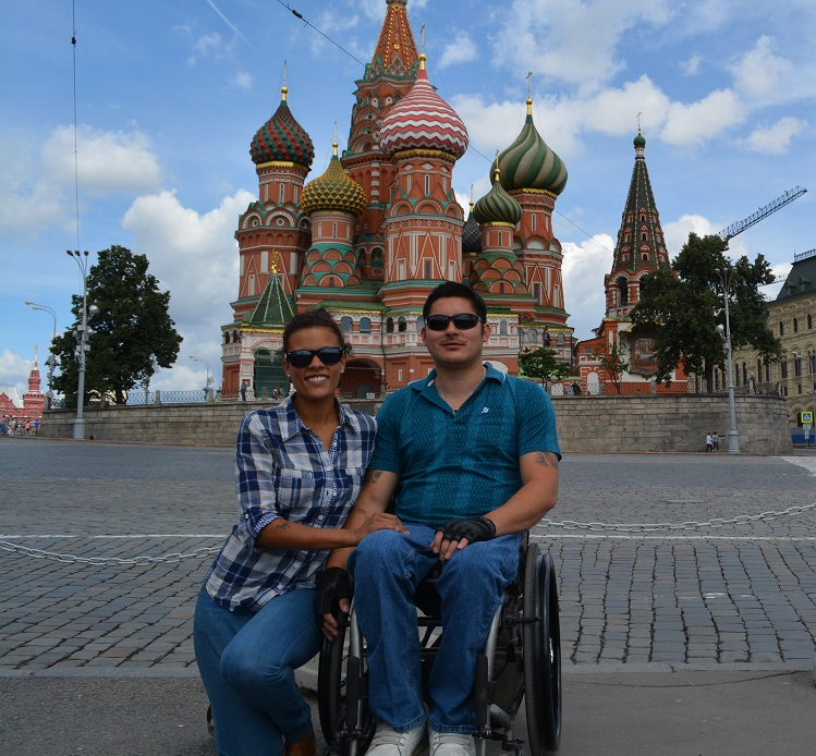 Nice touristy shot of us both outside St Basils', Moscow