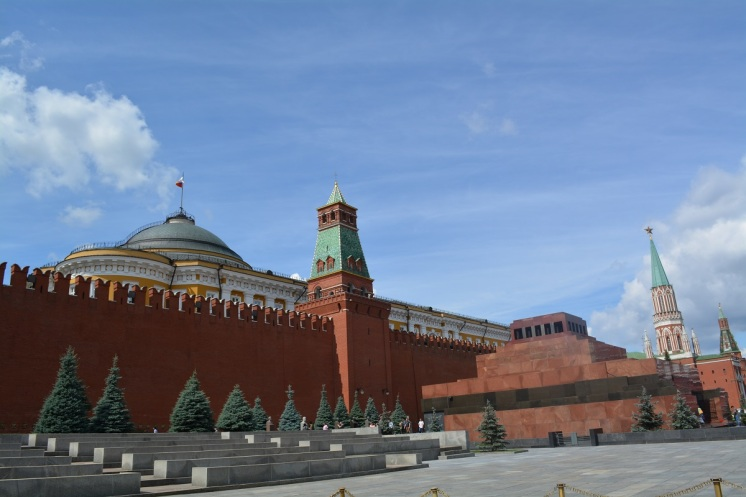 The walls of the Kremlin with Lenin's Mausoleum just in-front. Stalin was also buried there but later removed due to his well recorded brutality