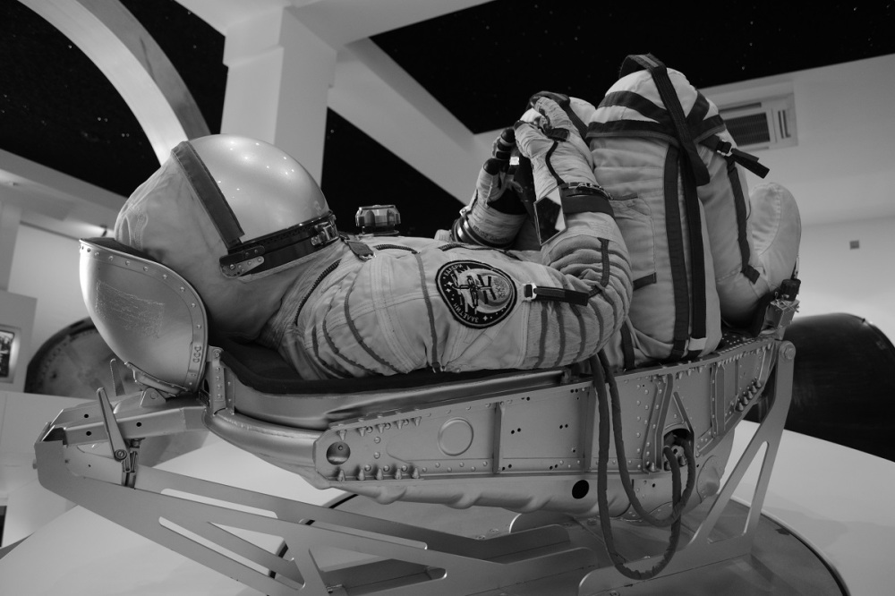 Imagine having to sit in that tight little seat inside a spacesuit, inside a pod. Crazy