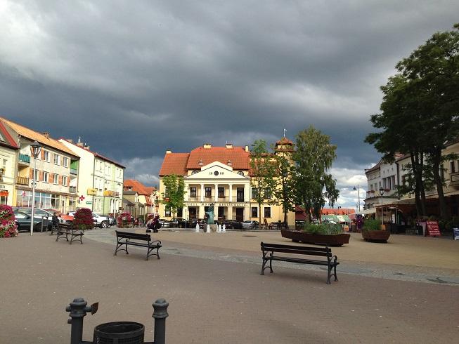 The quaint Mikolajki town center