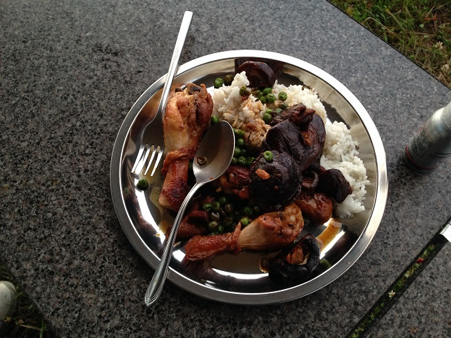 Cooking up a good feed - marinated chicken wings with rice and veg......
