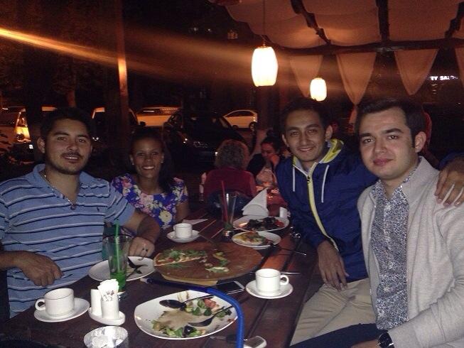 Jaha and his good friend Baka enjoying dinner and farewell shisha