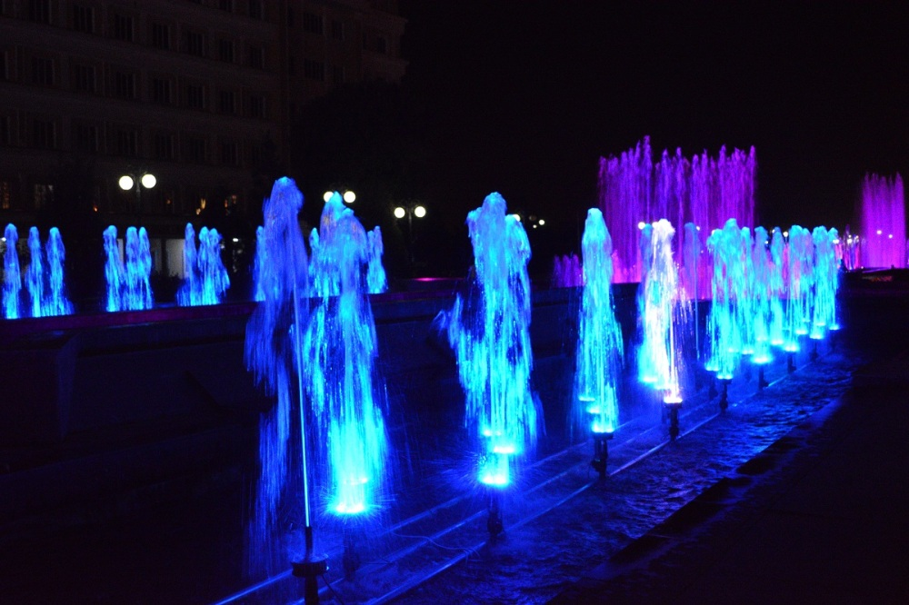 Dushanbe is full of water features and by night the cty is amazing