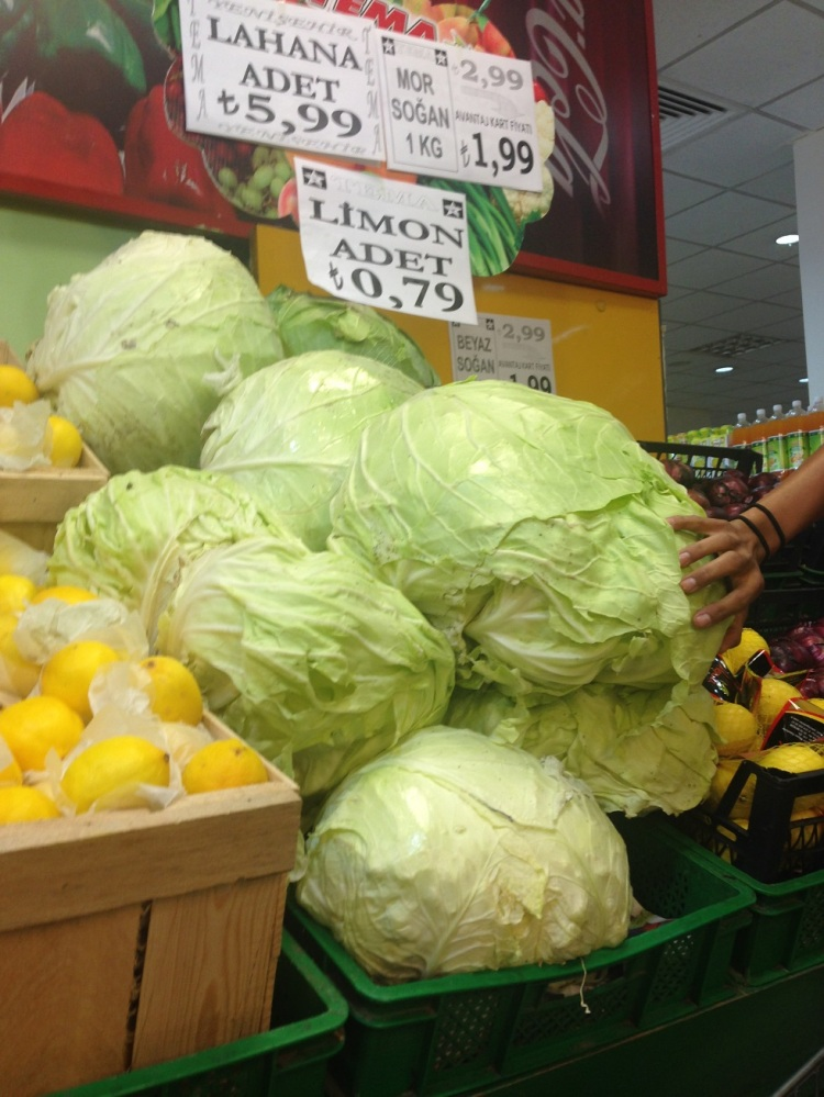 Everything is HUGE in Turkey - the cabbages are insane!