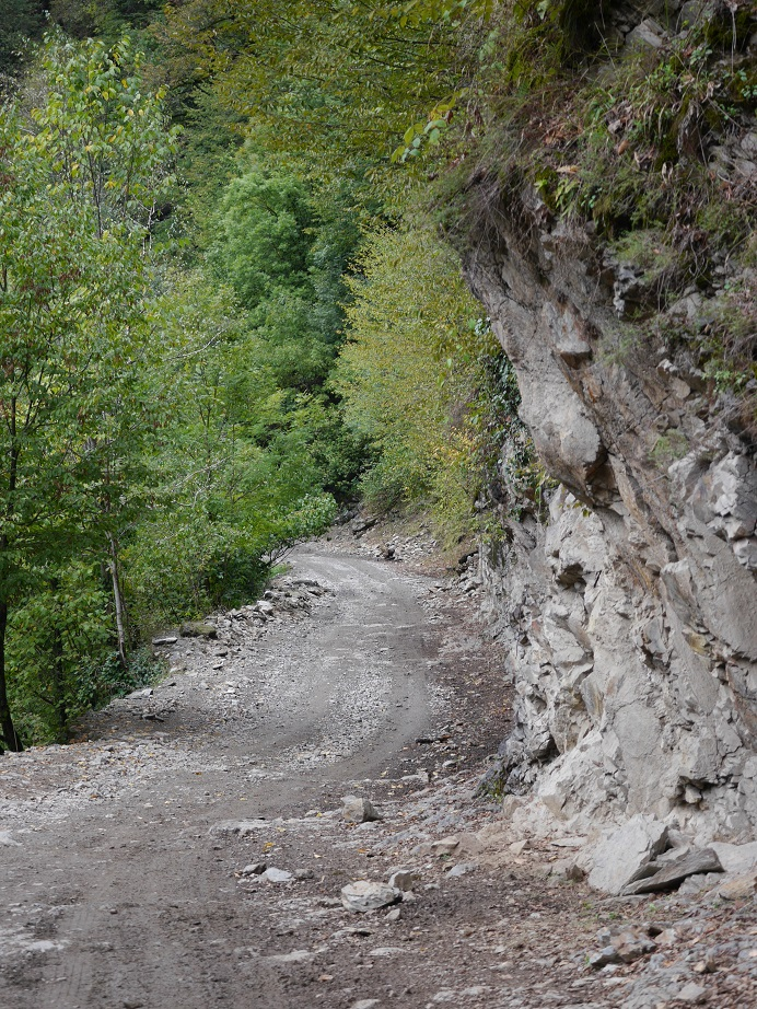 The muddy, steep and narrow track