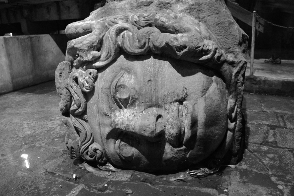 These Medusa heads taken from another Greek settlement were strangely placed on the sides at the base of one of the pillars.