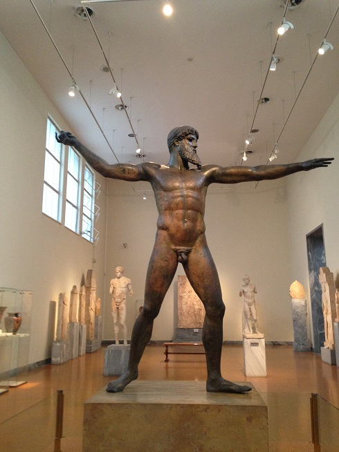 A statue of either Zeus or Poseidon made around 450BC from bronze. It's crazy as the statue was recovered from the sea but has remained in an almost perfect condition. You would never guess it's age!