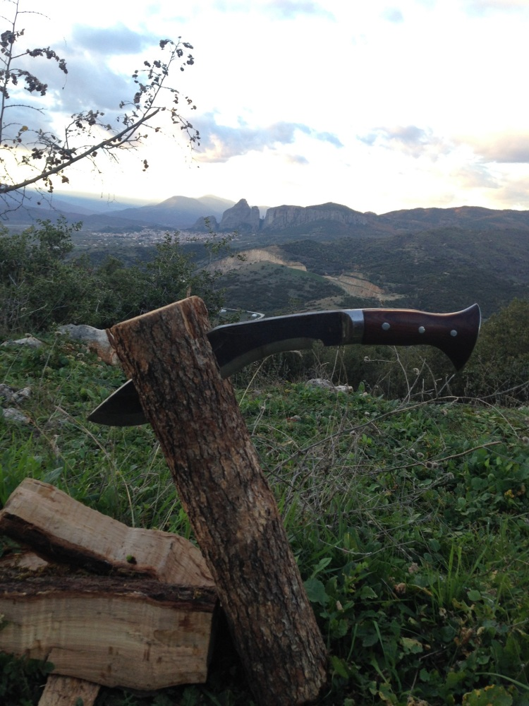 Chopping wood with a great view