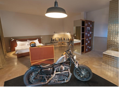 The biker loft, pic was pinched from their website to illustrate the bike in the room.